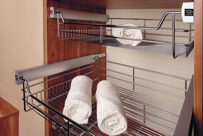 The WIRE BASKET can be used in fitted furniture instead of traditional drawers. The open wire structure provides a view of the contents without sliding out. Thanks to the free air circulation, the clothes are always fresh.