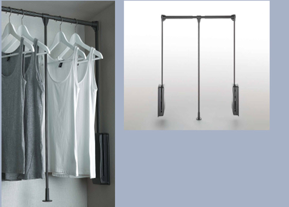 Wardrobe lift Mocca Popular product for hanging clothes in a high closet. Soft-close mechanism ensures quiet and smooth operation, while the finishing colour matches other series products, allows to design wardrobe with colours consistent with other elements in the interior.